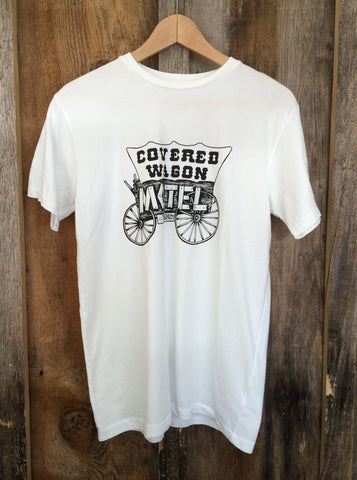 Covered Wagon Motel Mens Tee White/Blk
