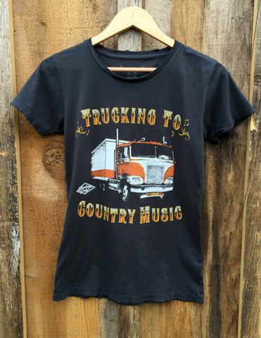 Trucking To Country Music Womens Tee Blk/Color click for more information