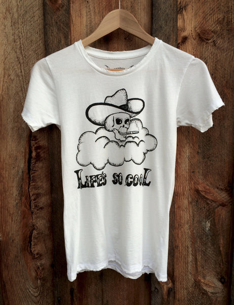 Life's So Cool Women's Vintage Tee White/Black