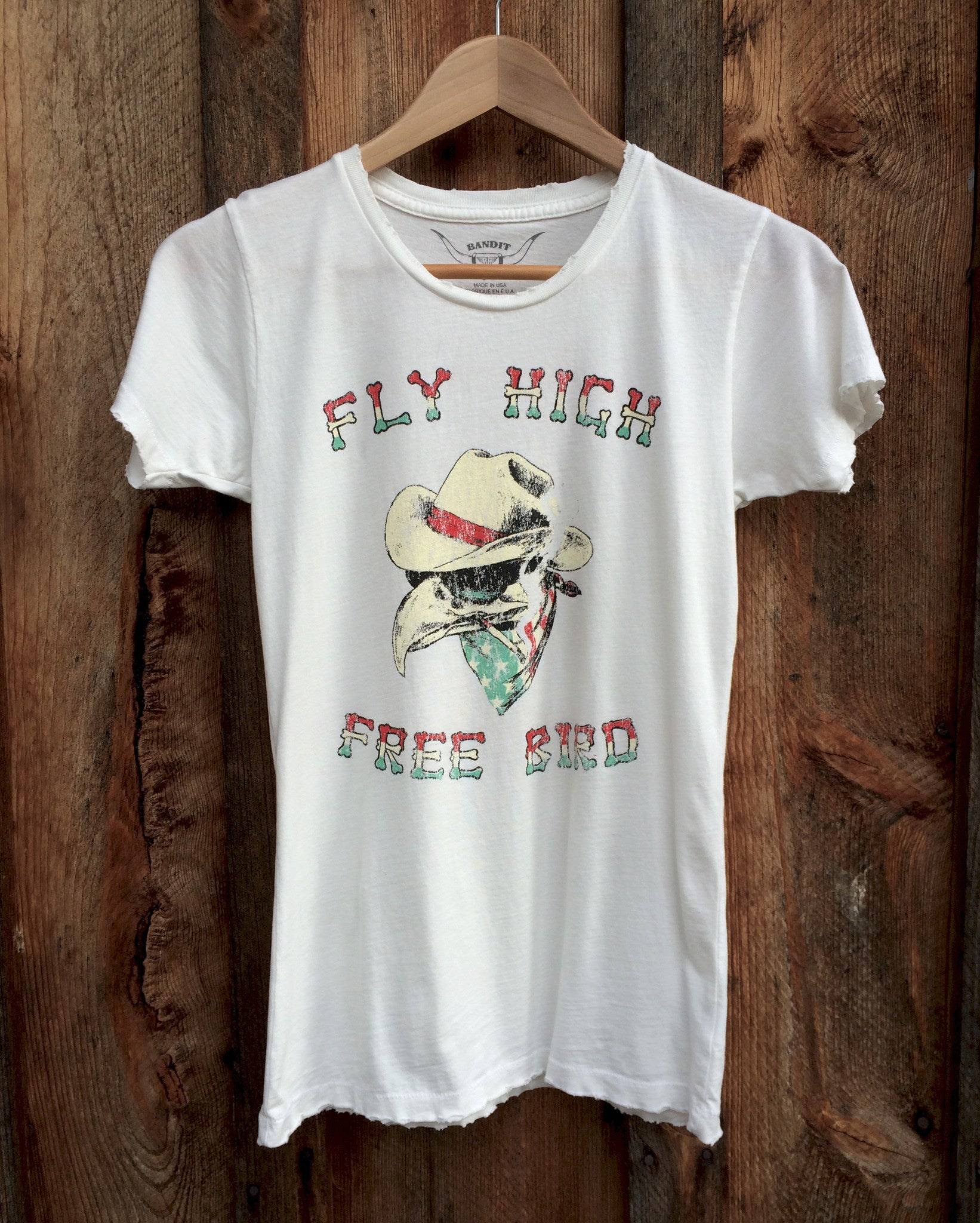 Fly High Free Bird Womens Tee Wht/Multi