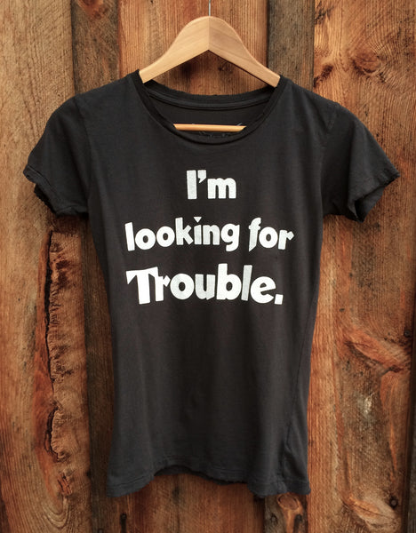 Lookin for Trouble Women's Vintage Tee Black/White