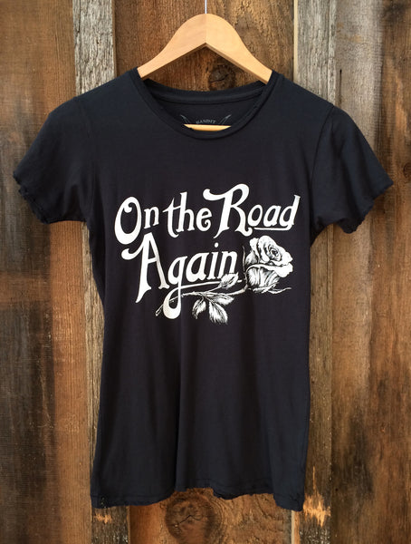 On The Road Again Women's T Shirt Black/White