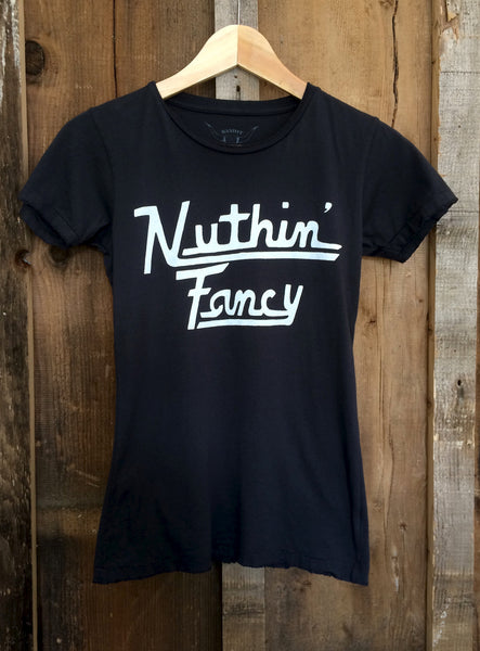 Nuthin' Fancy Womens Tee Blk/White