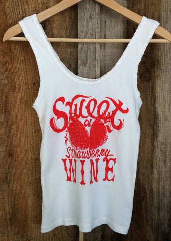 Sweet As Strawberry Wine Lace Tank White/Red