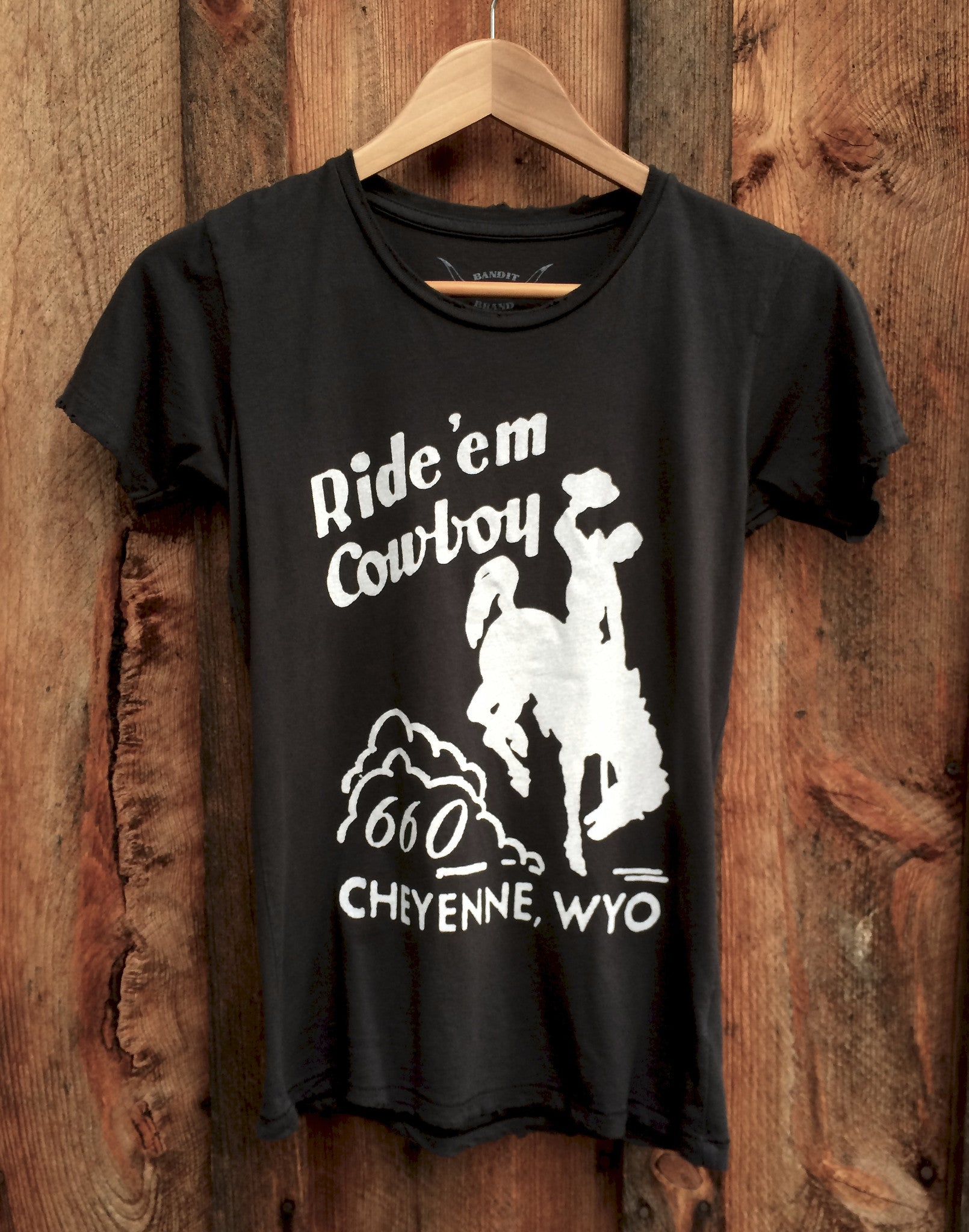 Ride'em Cowboy Women's Vintage Tee Black/White