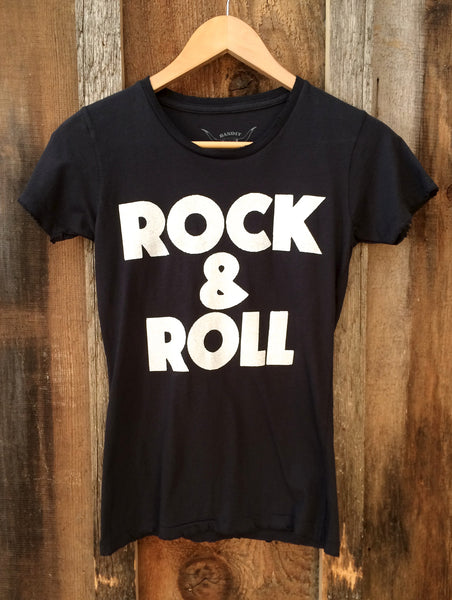 Rock and Roll Womens Tee Blk/Wht