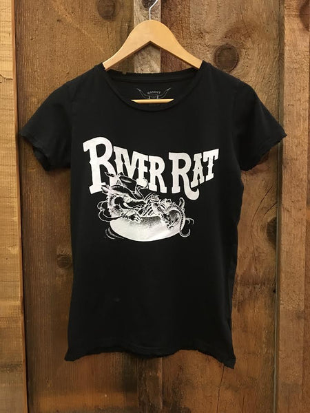 River Rat Womens Tee Blk/White