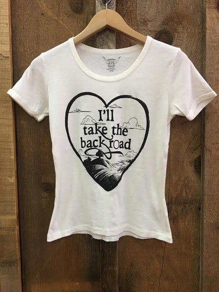 I'll Take The Back Road 70's Tee White/Blk