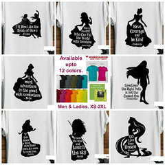 Short Sleeve Silhouette Princess Quote T-Shirts