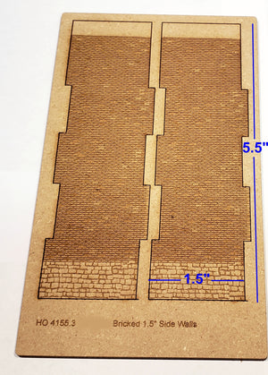 "1.5"" Wide - HO / HOn3 Brick Wall Panel Kit - Random Stone Foundation - One Pair - ITLA"