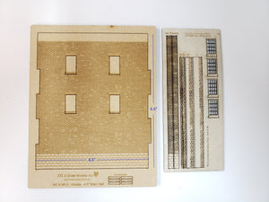 "4.5""W x 5.5"" HO Brick Wall Panel Kit - Cut Stone Foundation, 4 Windows - ITLA"