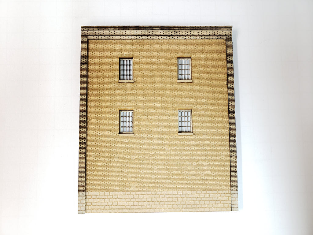 "4.5"" Wide - HO Brick Wall Panel Kit - Cut Stone Foundation, 4 Windows - ITLA"