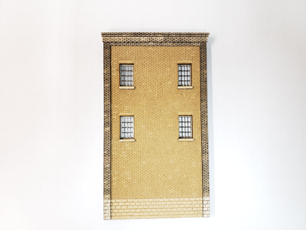 "3"" Wide - HO Brick Wall Panel Kit - Cut Stone Foundation, 4 Windows - ITLA"