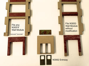 N Scale Industrial Wall Module - 5th Story Elevator Head House & Ground Level Entryway - ITLA