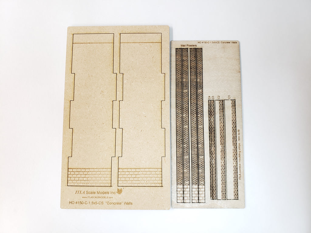 "1.5""W x 5.5""H - ""Concrete"" Wall Panel Kit - Cut Stone Foundation - One Pair. - ITLA"
