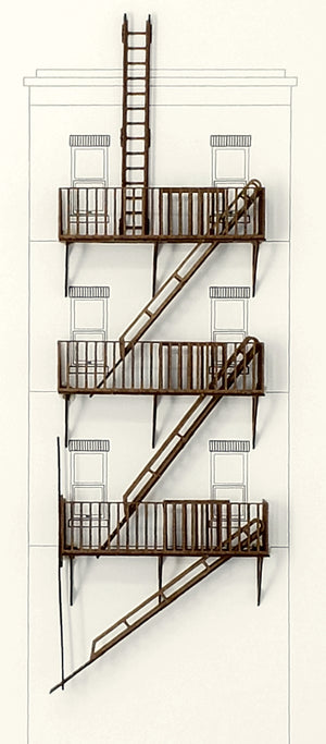 HO Fire Escapes - Set of 3 with Ladders, Roof & Ground access - ITLA