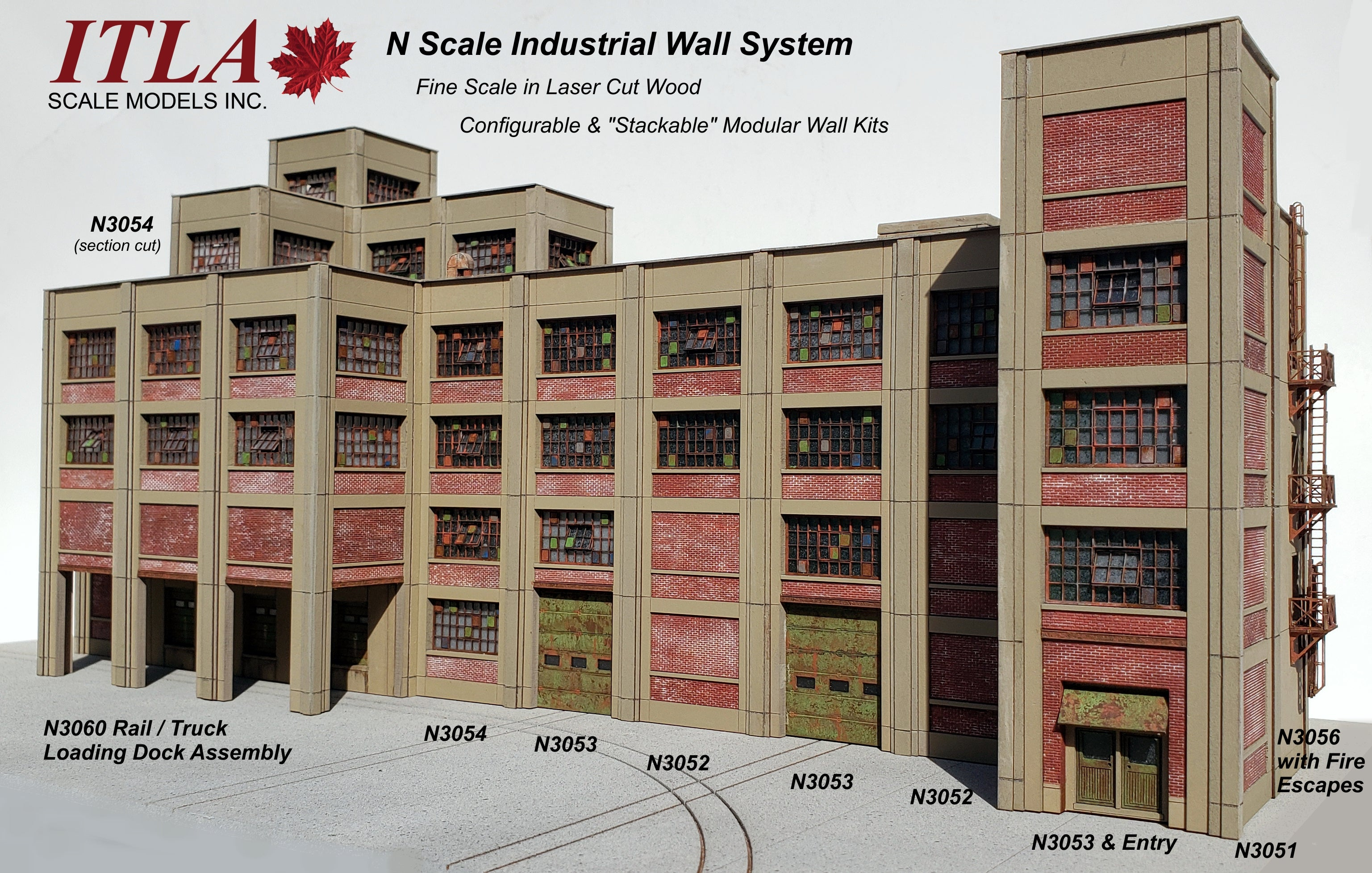 N Scale Industrial Wall Modules - sold in PAIRS - ITLA