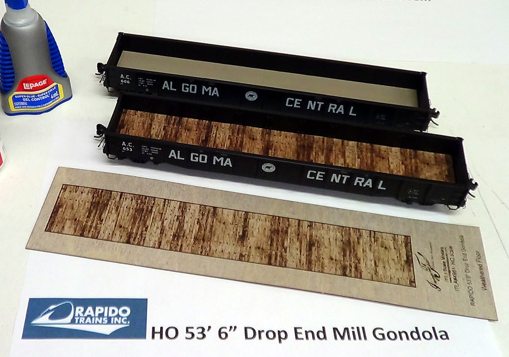 HO scale Rapido 52-6 ft Weathered Gondola Floor - ITLA