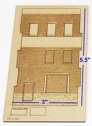 "3""W x 5.5""H  HO4155 Brick Wall Panel Kit, Random Stone Foundation with Loading Dock, Entry Door Set, 3 Windows - ITLA"