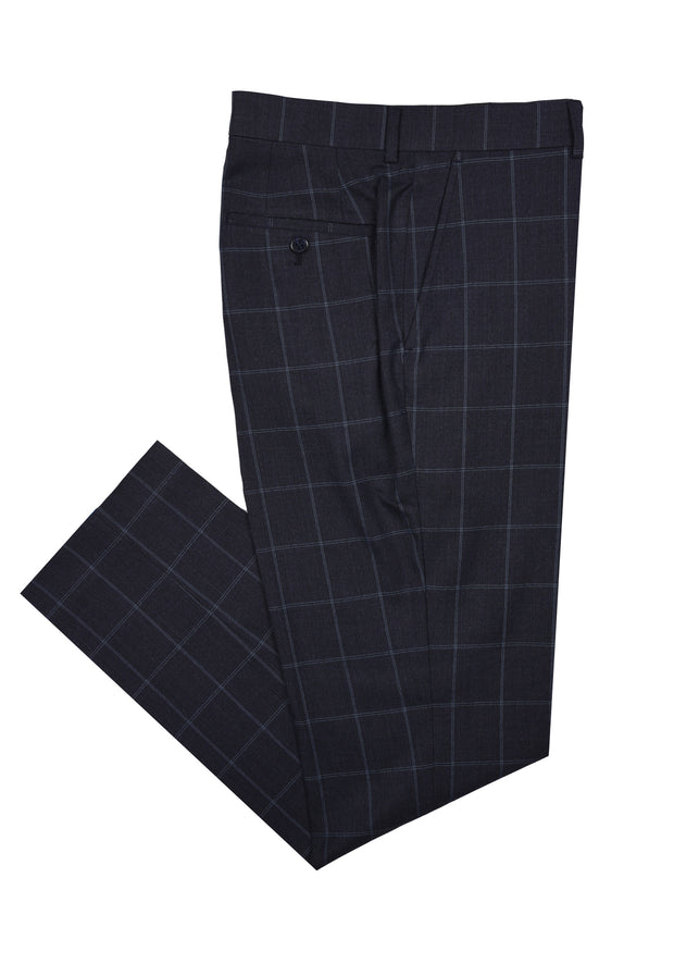 SAVILE ROW CO. SUIT PANT - BLUE WINDOWPANE,