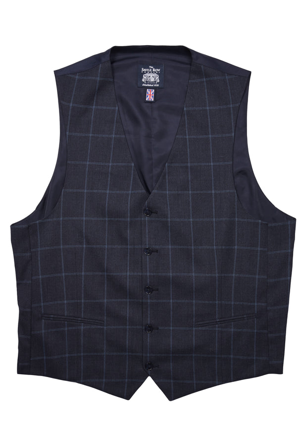 5 BUTTON VEST - BLUE WINDOWPANE,