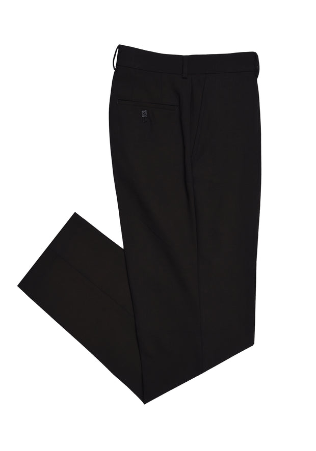 PLAIN FRONT PANT - BLACK BI STRETCH TWILL,