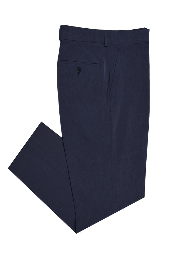 PLAIN FRONT PANT - NAVY STRETCH FANCY,