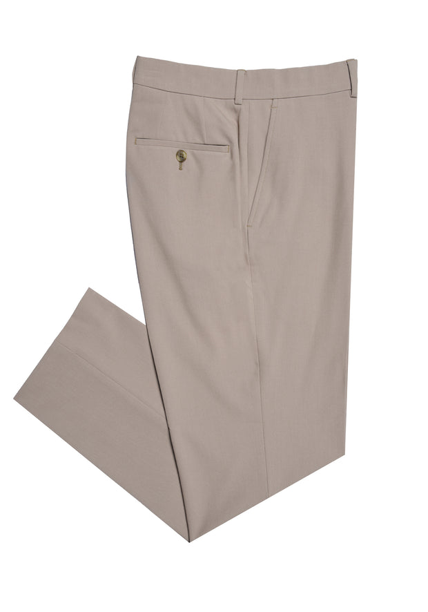 PLAIN FRONT PANT - TAN STRETCH FANCY,