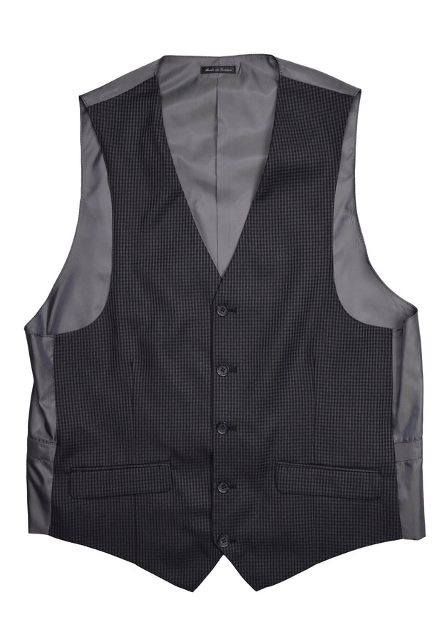 5 BUTTON V-NECK VEST - BLACK NAVY CHECK