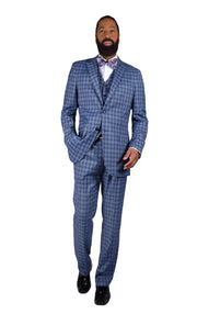 2 BTN, NOTCH LAPEL - BLUE PLAID,