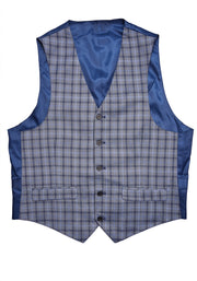 5 BUTTON V-NECK VEST - BLUE PLAID
