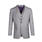 2 BTN PEAK LAPEL HACKING PKTS - BLACK WHITE PLAID