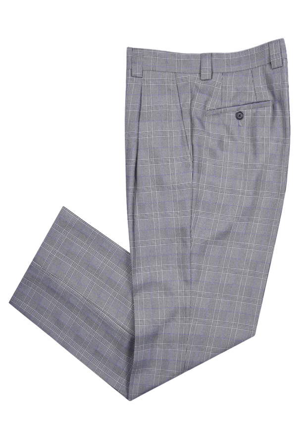 SINGLE PLEAT PANT - BLACK WHITE PLAID,