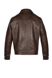 LEATHER JACKET - BROWN, Q