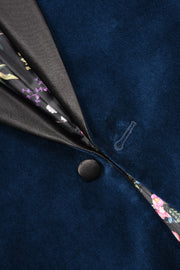 1 BUTTON SATIN SHAWL VELVET - 98% COTTON 2% SPANDEX NAVY,