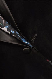 1 BUTTON SATIN SHAWL VELVET - 98% COTTON 2% SPANDEX BLACK,