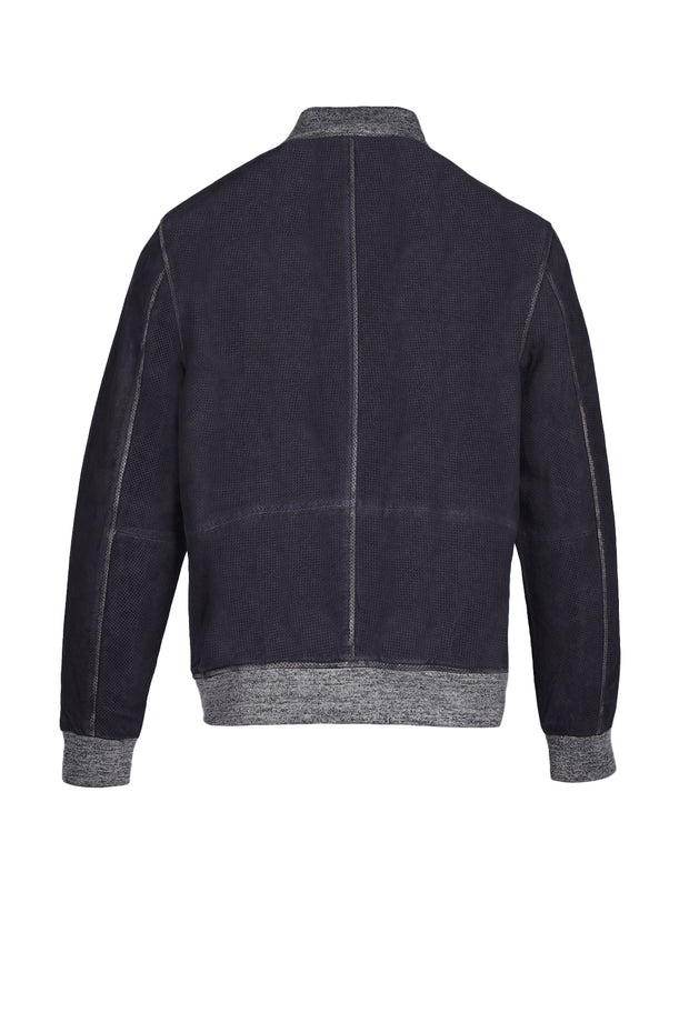 LIGHT WEIGHT LEATHER BOMBER - NAVY, Q