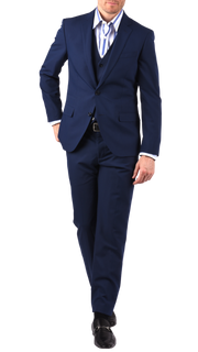 SAVILE ROW CO. SUIT JACKET - BLUE BISTRETCH POPLIN,