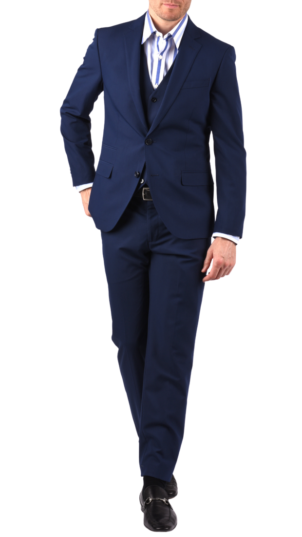 SAVILE ROW CO. SUIT PANT - BLUE BISTRETCH POPLIN,