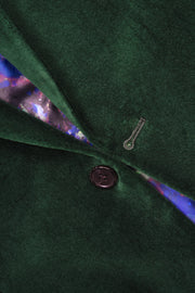 2 BUTTON PEAK LAPEL VELVET BLAZER - 98% COTTON 2% SPANDEX EMERALD,