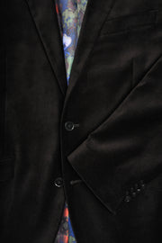 2 BUTTON PEAK LAPEL VELVET BLAZER - 98% COTTON 2% SPANDEX BLACK,