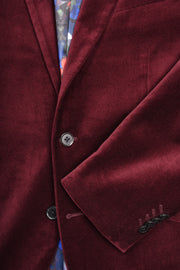 2 BUTTON PEAK LAPEL VELVET BLAZER - 98% COTTON 2% SPANDEX BURGUNDY,