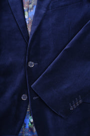 2 BUTTON PEAK LAPEL VELVET BLAZER - 98% COTTON 2% SPANDEX NAVY,