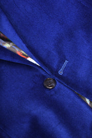 2 BUTTON PEAK LAPEL VELVET BLAZER - 98% COTTON 2% SPANDEX COBALT,