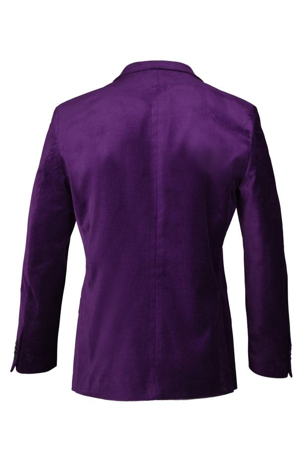 2 BUTTON PEAK LAPEL VELVET BLAZER - 98% COTTON 2% SPANDEX EGGPLANT,
