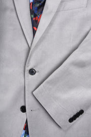 2 BUTTON PEAK LAPEL VELVET BLAZER - 98% COTTON 2% SPANDEX SILVER,