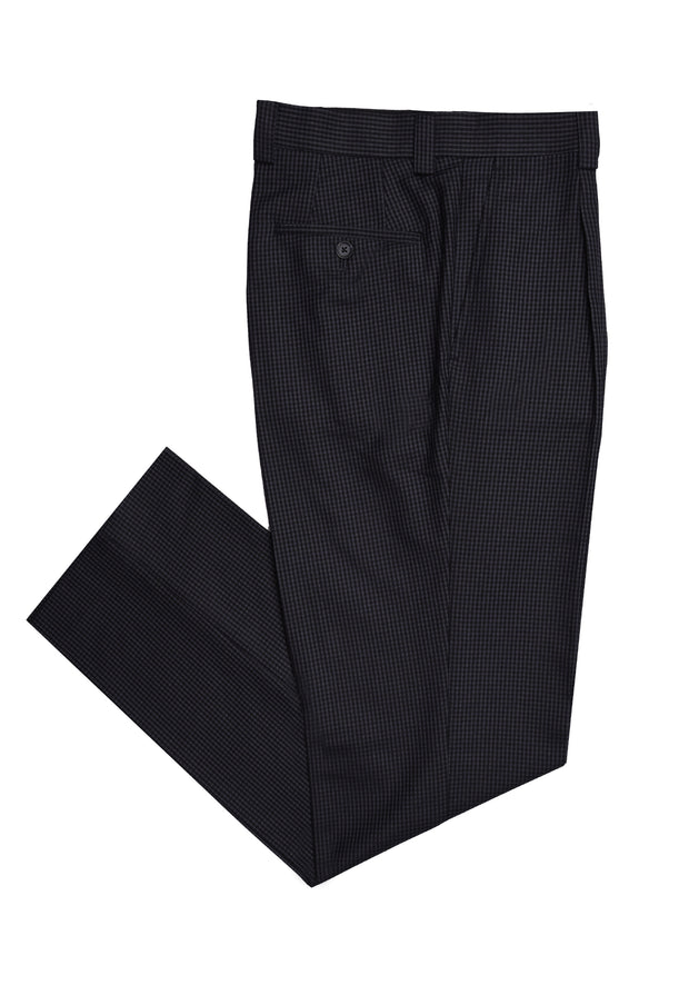 SINGLE PLEAT PANT - BLACK NAVY CHECK
