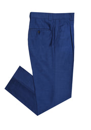 SINGLE PLEAT PANT - BRIGHT BLUE LINO TEXTURE