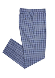 SINGLE PLEAT PANT - BLUE PLAID,