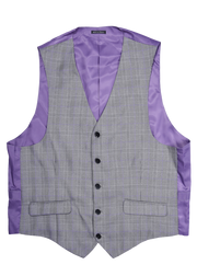 5 BUTTON V-NECK VEST - BLACK WHITE PLAID,